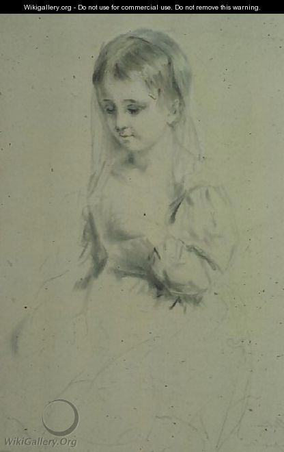 Portrait Study of a young girl - Margaret Sarah Carpenter