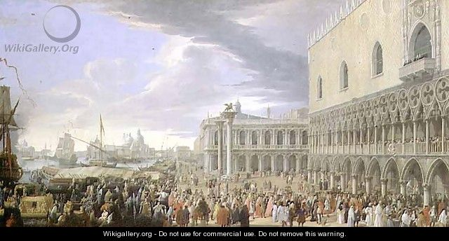 The Arrival of the Fourth Earl of Manchester in Venice in 1707 - Luca Carlevaris