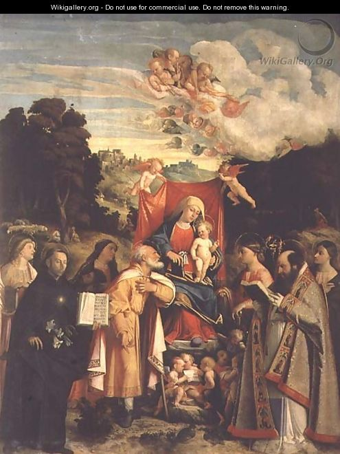 Madonna and Child with SS. Domenic, Barbara, Catherine and others - Cariani