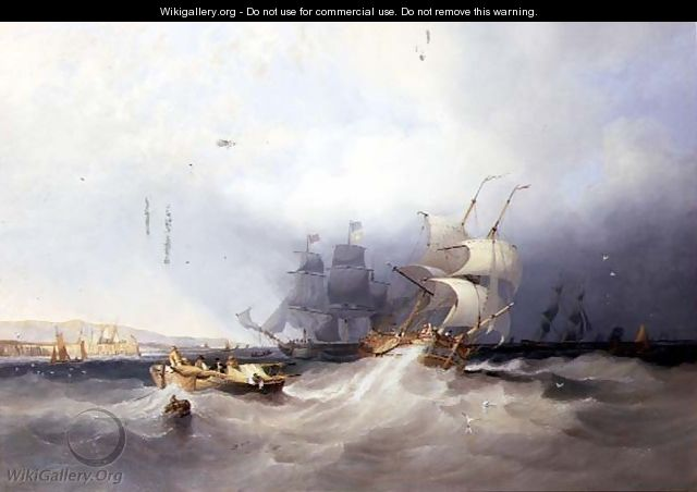 A Dutch Brig on a Port Reach and other Shipping off an East Coast Harbour - James Wilson Carmichael
