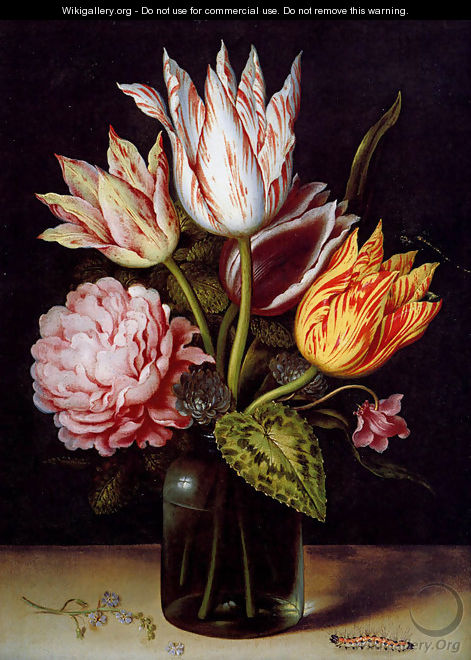 A Still Life With A Bouquet Of Tulips, A Rose, Clover And A Cylclamen In A Green Glass Bottle - Ambrosius the Elder Bosschaert
