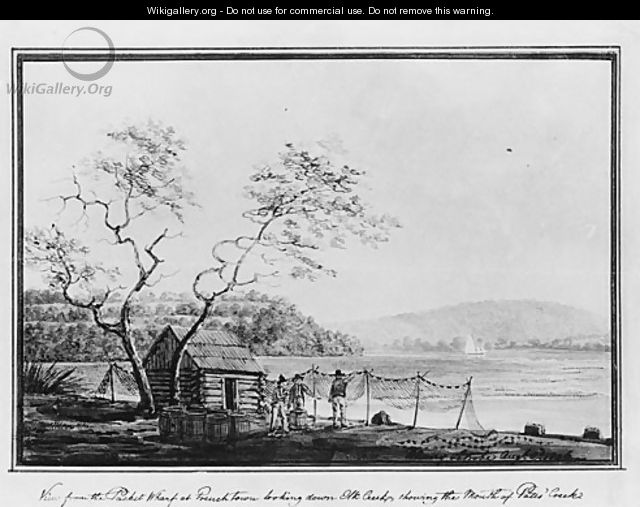 View from the Packet Wharf at Frenchtown looking down Elk Creek - Benjamin Henry Latrobe