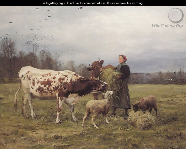 Wintertime with Cows and Sheep - Adolphe Charles Marais