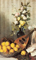 A Still Life with a Vase of Roses, a Bowl of Peaches and a Mandolin - Angelo Martinetti