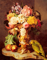 A Still Life with a Vase of Assorted Flowers, Peaches and a Parrot on a Marble Ledge - Ferdinand Kuss