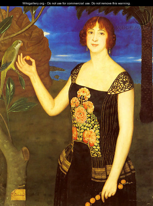 A Portrait Of A Lady With A Parakeet In A Tropical Landscape - Miguel Viladrich
