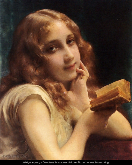 A Little Girl Reading - Etienne Adolphe Piot