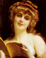 A Blonde Beauty Holding a Book - Etienne Adolphe Piot