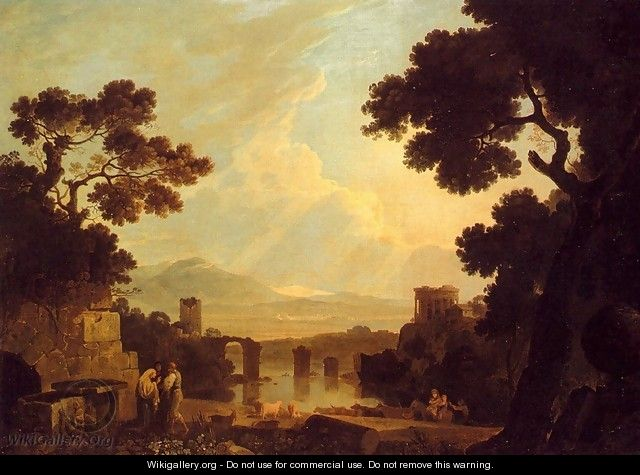 A Capriccio Landscape With The Temple Of The Sibyl At Tivoli And The Broken Bridge At Narni - Richard Wilson