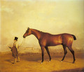 Emlius, Winter of the 1832 Derby, held by a Groom at Doncaster - John Ferneley, Snr.