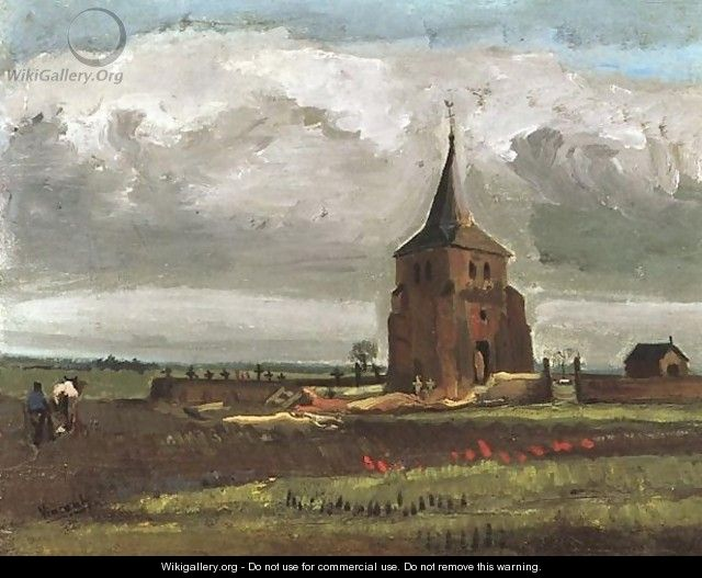 The Old Tower At Nuenen With A Ploughman - Vincent Van Gogh