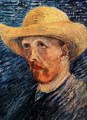 Self Portrait With Straw Hat II - Vincent Van Gogh