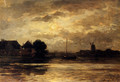 View Of The Spaarne, Haarlem, By Moonlight - Philippe Lodowyck Jacob Sadee