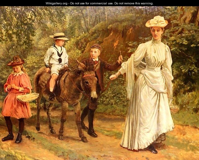 A donkey Ride Along A Woodland Path - John Barwell