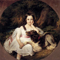 A Young Girl Resting In A Landscape With Her Dog - Friedrich August von Kaulbach