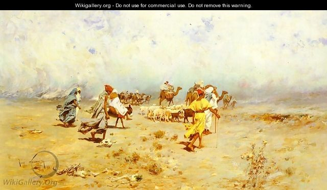 An Arab Caravan On The Move - Jose Navarro Llorens