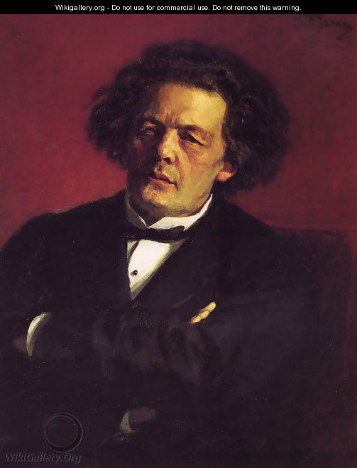 Portrait of the pianist, conductor, and composer, Anton Grigorievich Rubinstein - Ilya Efimovich Efimovich Repin