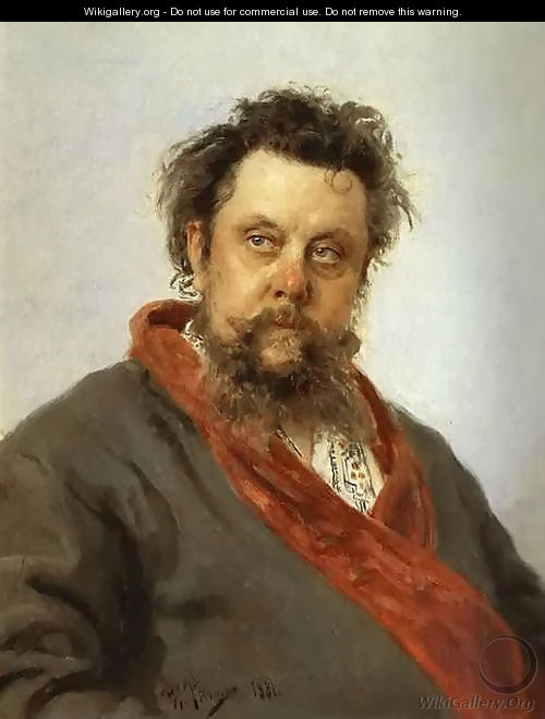 Portrait of the Composer Modest Musorgsky - Ilya Efimovich Efimovich Repin