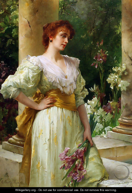 Woman in White Holding Irises - Conrad Kiesel