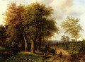 Travellers Resting On A Wooded Path - Marianus Adrianus Koekkoek