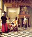 A Woman Drinking with Two Men and a Serving Woman - Pieter De Hooch