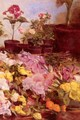 Still Life With Flower Pots And Cut Flowers - Giovanni Sottocornola