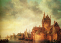 A Castle By A River With Shipping At A Quay - Jan van Goyen