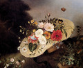 Still Life With Assorted Flowers In A Hat - Ange Louis Lesourd-Beauregard
