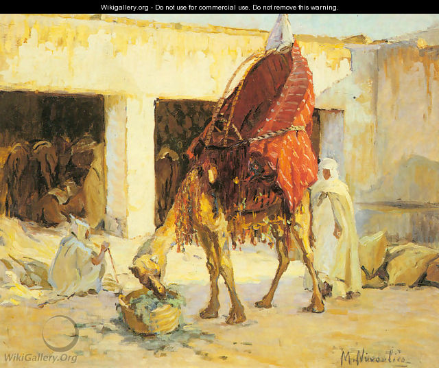Arabs and Camels in a Courtyard - Marie Nivoulies