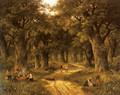 Peasants Preparing a Meal near a Wooded Path - Hendrik Barend Koekkoek