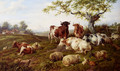 Resting Cattle, Sheep And Deer, A Farm Beyond - Charles Jones