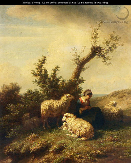A Shepherdess And Her Flock - Edmond Jean Baptiste Tschaggeny