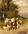 Hunting Dogs on a Forest Path - Charles Olivier De Penne