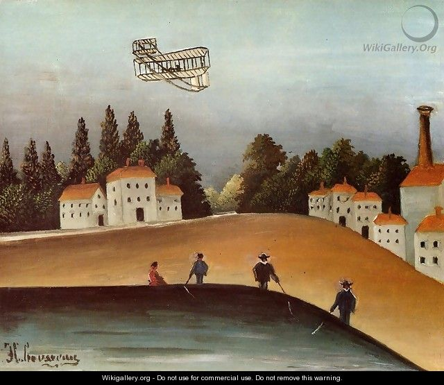 The Fishermen And The Biplane - Henri Julien Rousseau