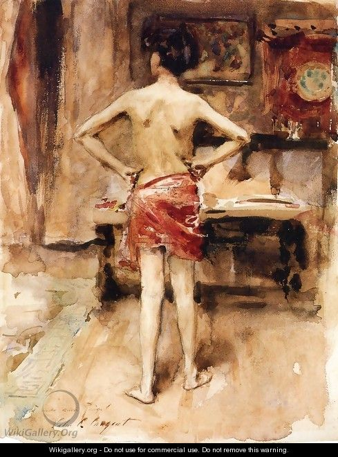 The Model Interior With Standing Figure - John Singer Sargent