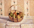 Still Life Apples And Pears In A Round Basket - Camille Pissarro