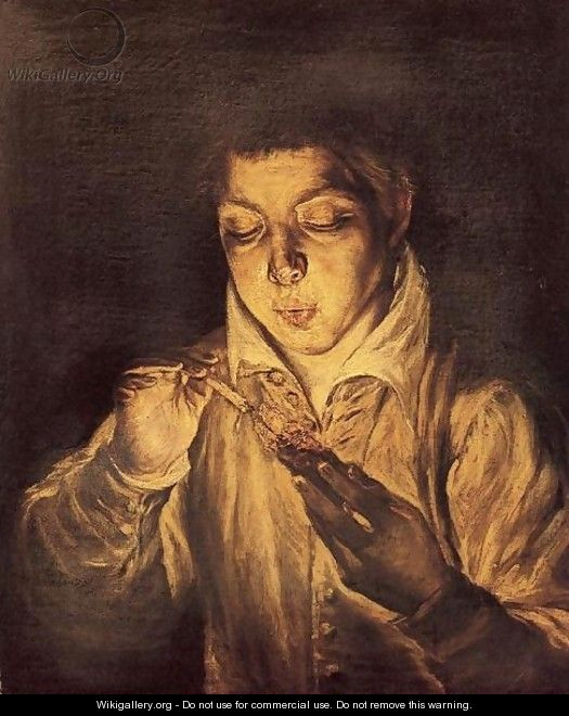 A Boy Blowing on an Ember to Light a Candle (Soplón) 1570-72 - El Greco (Domenikos Theotokopoulos)